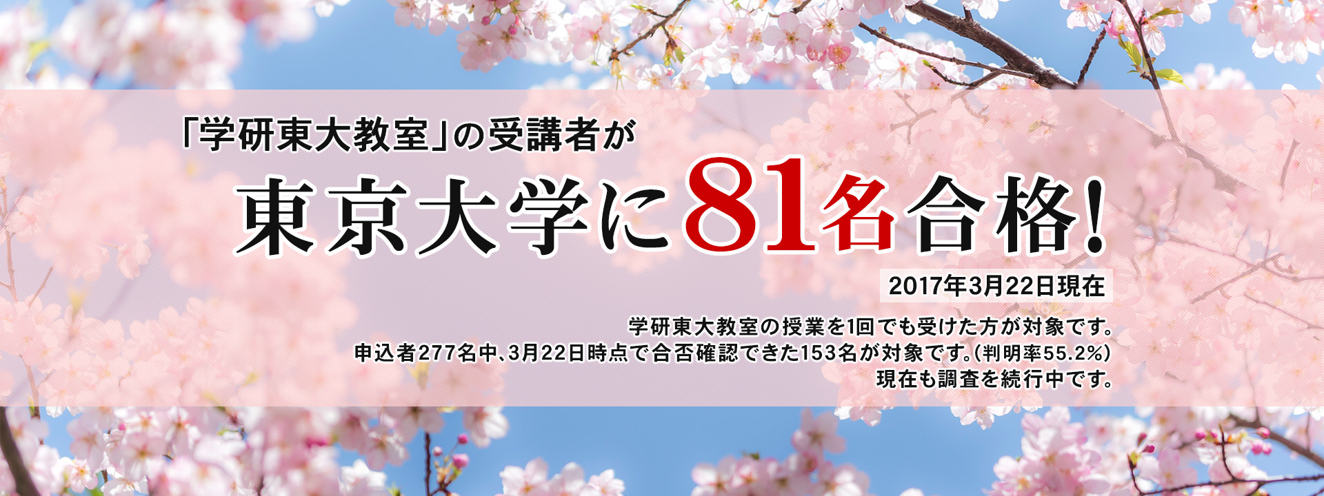 「学研東大教室」の受講者が東京大学に81名合格!